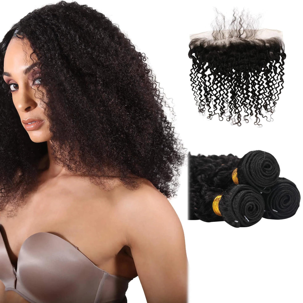 10A Peruvian Virgin Hair Kinky Curly - 3 Bundles + Curly Frontal