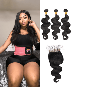 9A Grade Peruvian Virgin Hair Body Wave - 3 Bundles + Body Wave Closure