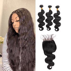7A Hair Body Wave - 3 Bundles + Body Wave Closure