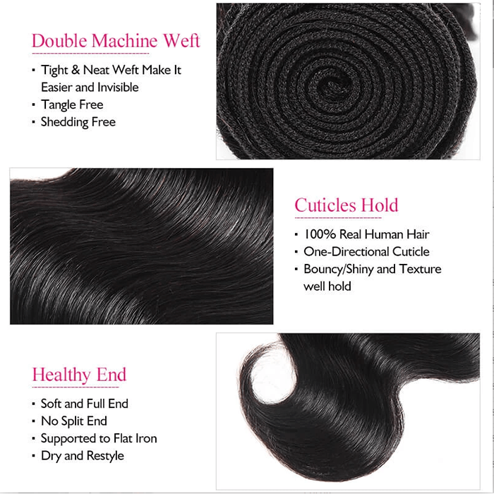 8A Grade Human Hair Body Wave - 3 Bundles + Body Wave Closure