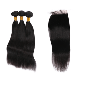 8A Virgin Hair Straight - 3 Bundles + Straight Closure