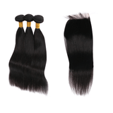 9A Grade Peruvian Virgin Hair Straight - 3 Bundles + Straight Closure