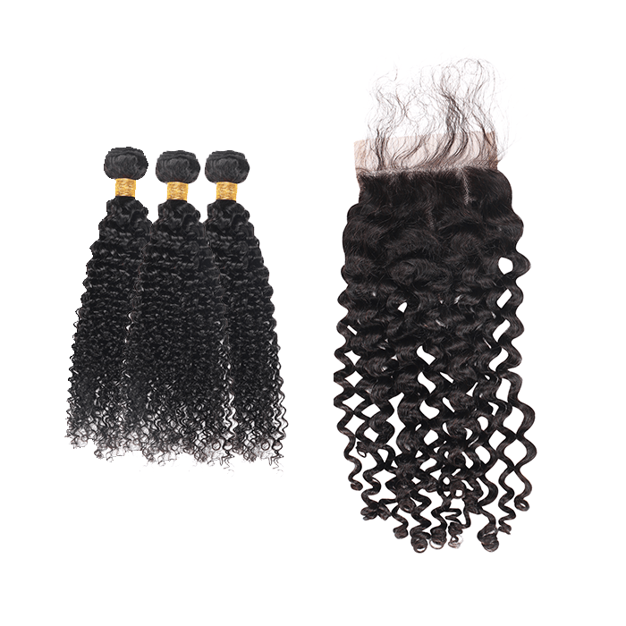 9A Grade Peruvian Virgin Hair Kinky Curly - 3 Bundles + Curly Closure