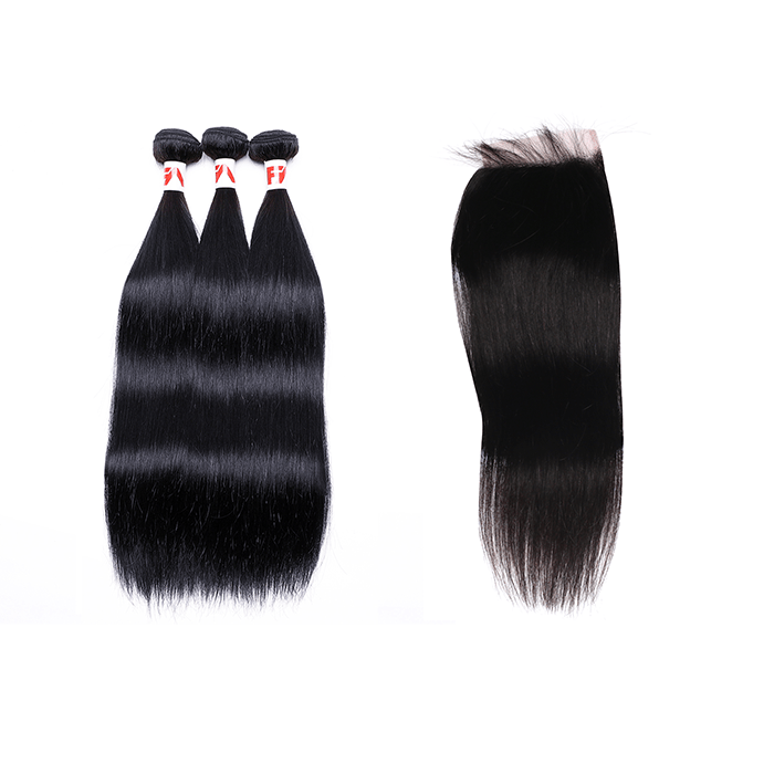 8A Grade Human Hair Straight - 3 Bundles + Straight Closure