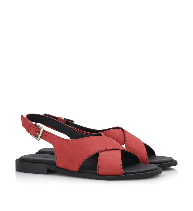 Shoe Biz Hasta Nubuck Sandal Red