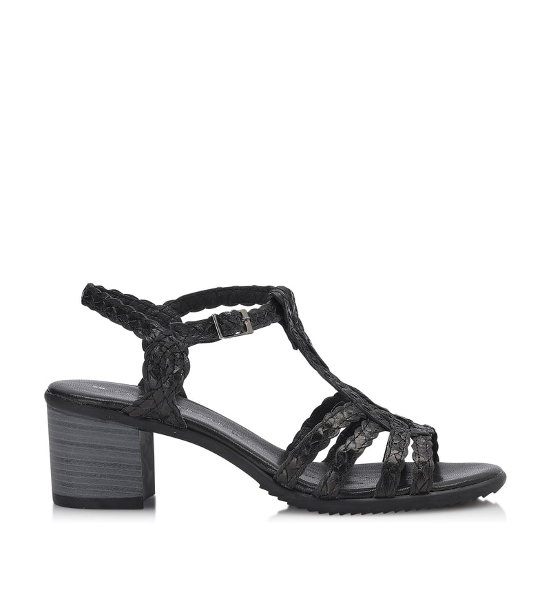 Shoe Biz Holly Trenzado Sandal - Soft Black