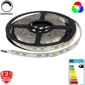 50x50-24V-60smd/m-16W-RGB+Blanco-12mm-IP65-5m.