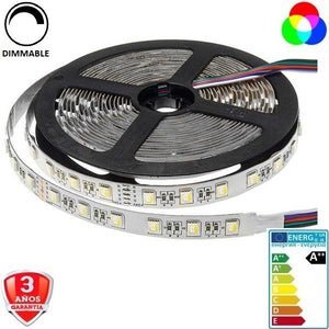 50x50-24V-60smd/m-16W-RGB+Blanco-12mm-IP33-5m.