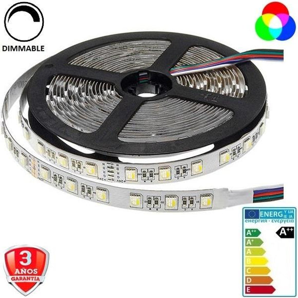 50x50-24V-60smd/m-16W-RGB+Cálido-12mm-IP33-5m. - Iluminacion Led  Mall