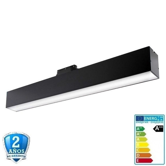 Foco Carril LED lineal Trifásico 12W 1320lm 120º Negro CCT