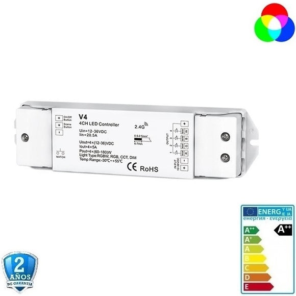 Receptor RGB/RGBW 12-36V, 4 canales, IP21 Led Mall