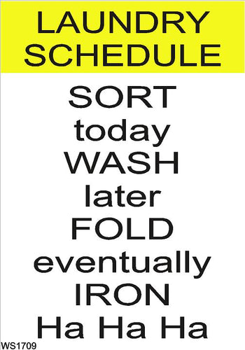 Wall Sign-Laundry schedule