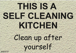 Wall Sign-Self cleaning kitchen