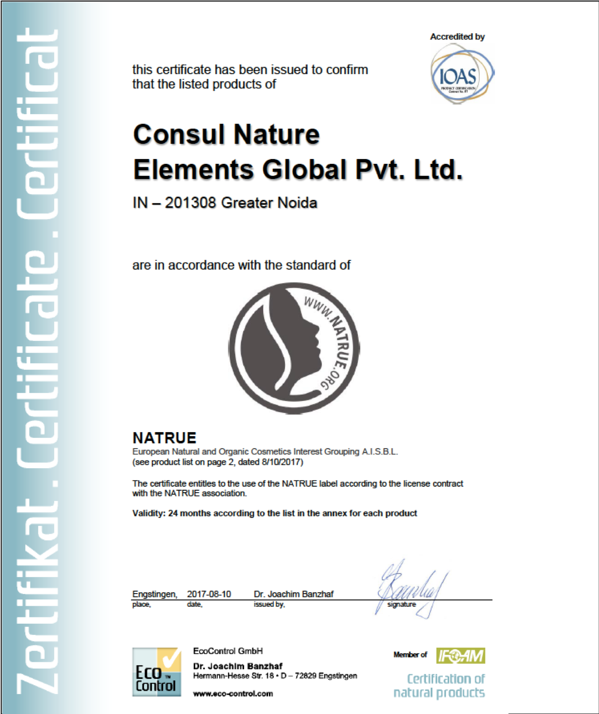 NATRUE certification