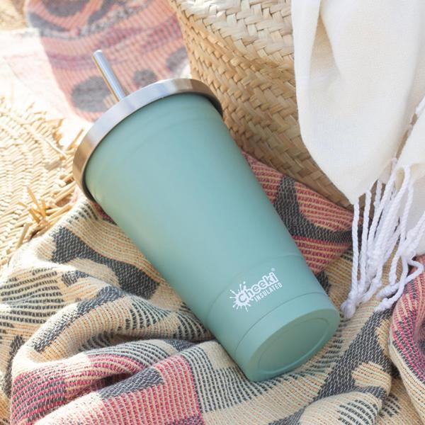 Cheeki > 500ml Stainless Steel Insulated Tumbler With Stainless Steel Straw - Pistachio-Cheeki-THE GLOW STORE