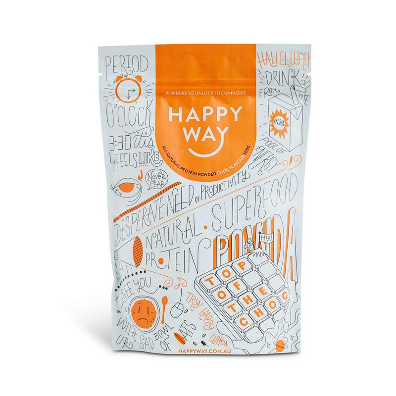 Happy Way Top Of The Choc Whey Protein Powder - Chocolate - 500g-Happy Way-THE GLOW STORE