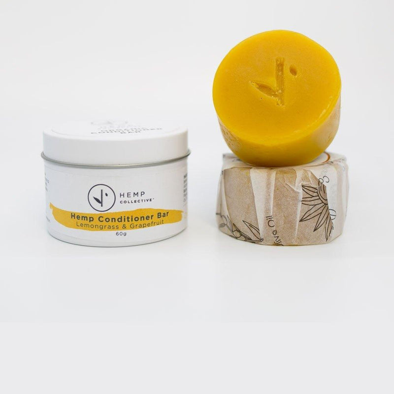 Hemp Collective Natural Conditioner Bar in Travel Tin – Hemp, Lemongrass & Grapefruit 100g-Hemp Collective-THE GLOW STORE