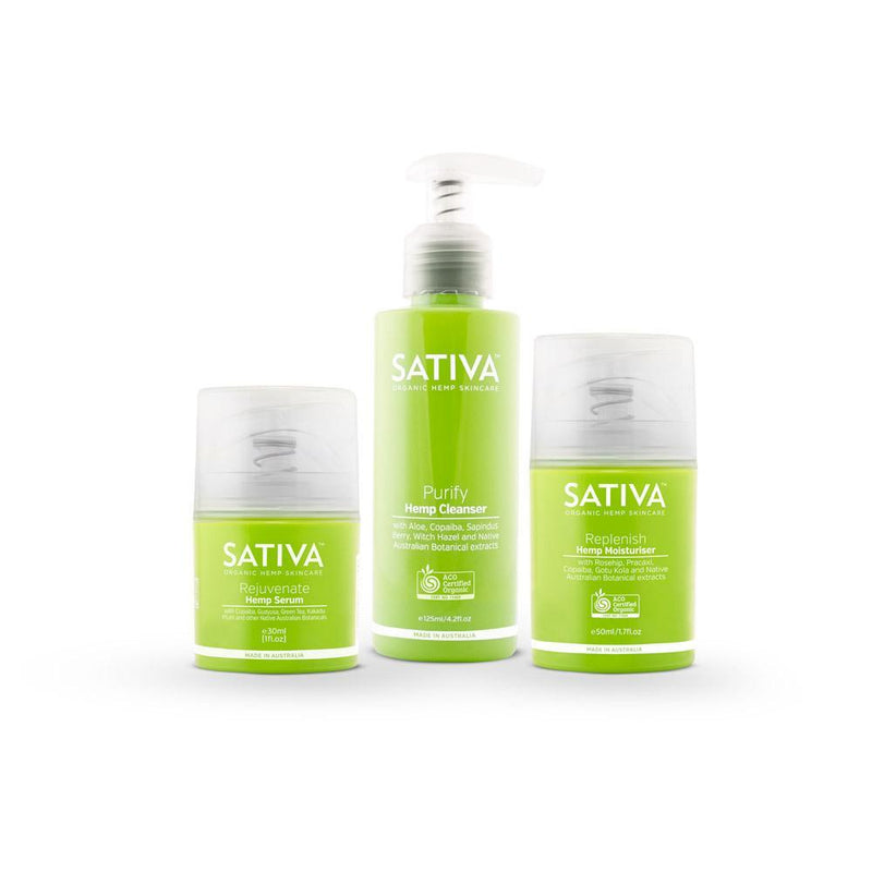 Sativa Organic Hemp Skincare Set - Organic Cleanser, Serum, Moisturiser-Sativa-THE GLOW STORE