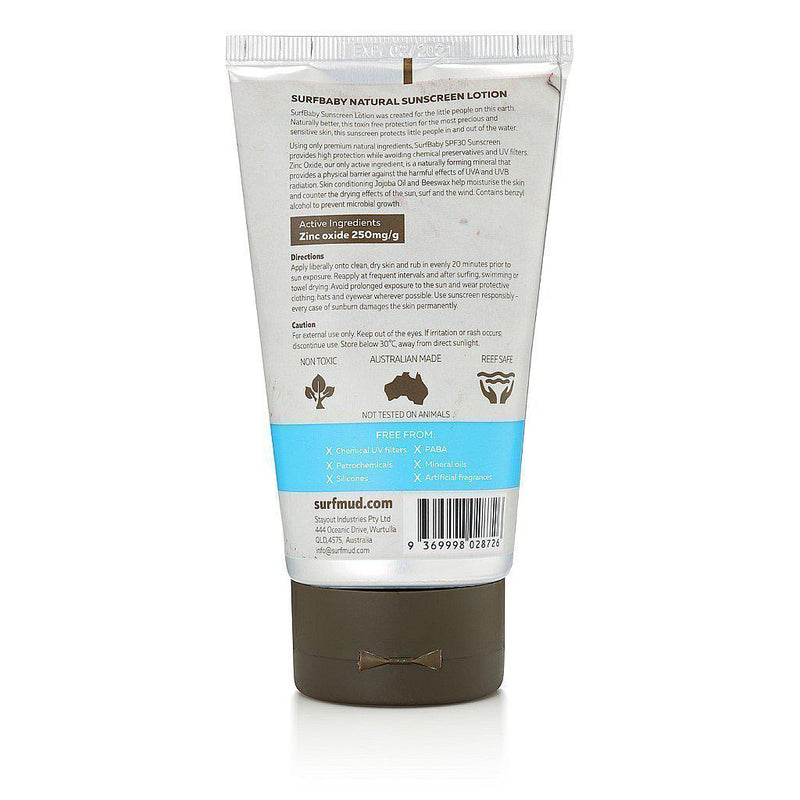 Surfmud > Surf Baby SPF30 Mineral Based Clear Natural Zinc Sunscreen - 125g-Surfmud-THE GLOW STORE
