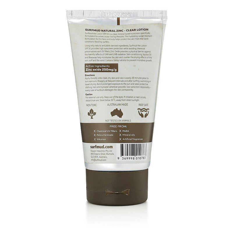 Surfmud > The Lotion SPF30 Mineral Based Clear Natural Zinc Sunscreen - 125g-Surfmud-THE GLOW STORE
