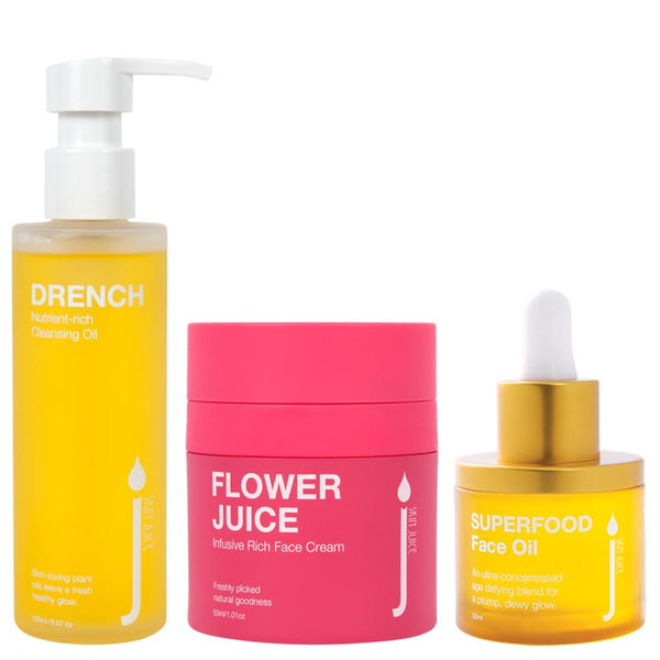 Testers of Dry / Mature Skin Saver Set - Skin Juice Drench Oil Cleanser, Flower Juice Cream, Superfood Face Oil 3g / 3ml each-Skin Juice-THE GLOW STORE