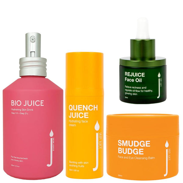 Testers of Sensitive / Normal Skin PRO Routine - Skin Juice Smudge Budge Cleanser, Bio Juice Skin Drink, Quench Cream, Rejuice Calming Face Oil 3g / 3ml each-Skin Juice-THE GLOW STORE