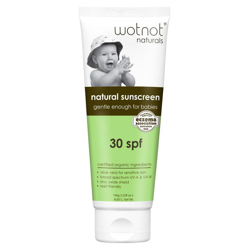Wotnot Naturals > Natural Baby Sunscreen SPF30 Suitable For Very Sensitive Skin - 3+ months- 100g-Wotnot Naturals-THE GLOW STORE