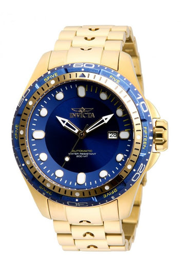 Invicta Hydromax Mens Automatic 51mm Stainless Steel Gold, Aluminum Case, Blue Dial - Model 32240