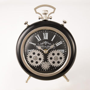 Round Roman Numeral Moving Cogs Table Clock Black  20cm