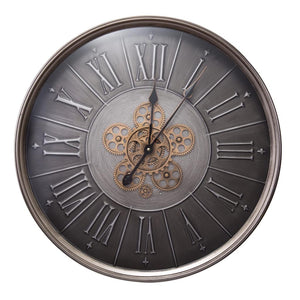 Round Roman Numeral Moving Cogs Wall Clock 60cm
