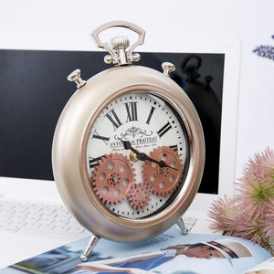 Round Roman Numeral Moving Cogs Table Clock Gold 20cm