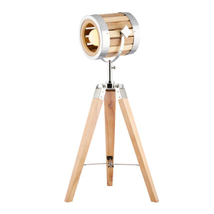 Tripod Table Lamp Wooden Shade