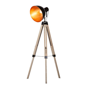 Tripod floor lamp with black/gold bowl shade
