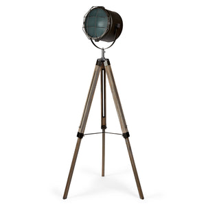 Tripod floor lamp with steel grey shade and mesh