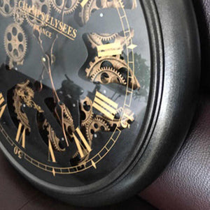 Transitional Round Roman Numeral Moving Cogs Wall Clock 50cm