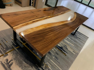 White Epoxy Dining Table