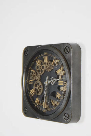 Vintage Moving Cogs Square Wall Clock 35 cm