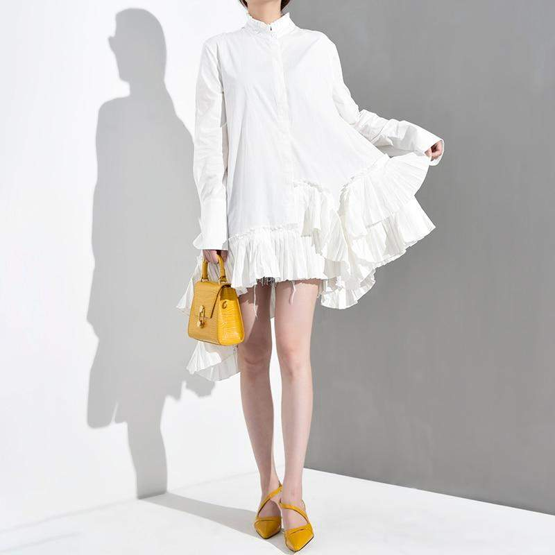Stand Collar Long Sleeve White Irregular Hem Ruffles Loose Shirt - missodd.com