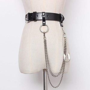 Pu Leather Black Chain Split Joint Personality Long Belt - missodd.com
