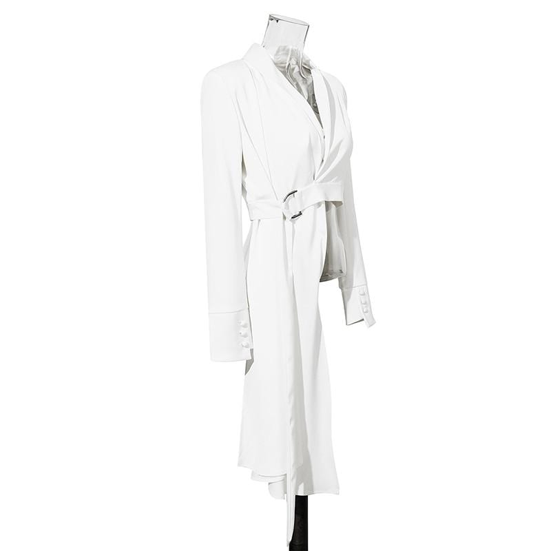 [ V-collar Long Sleeve White Button Belt Spliced Irregular Women Coat - missodd.com