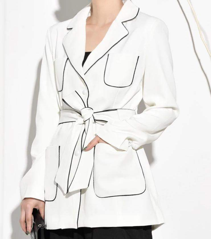 Bandage Pearl Single Breasted Brief Jacket Women Coat - missodd.com