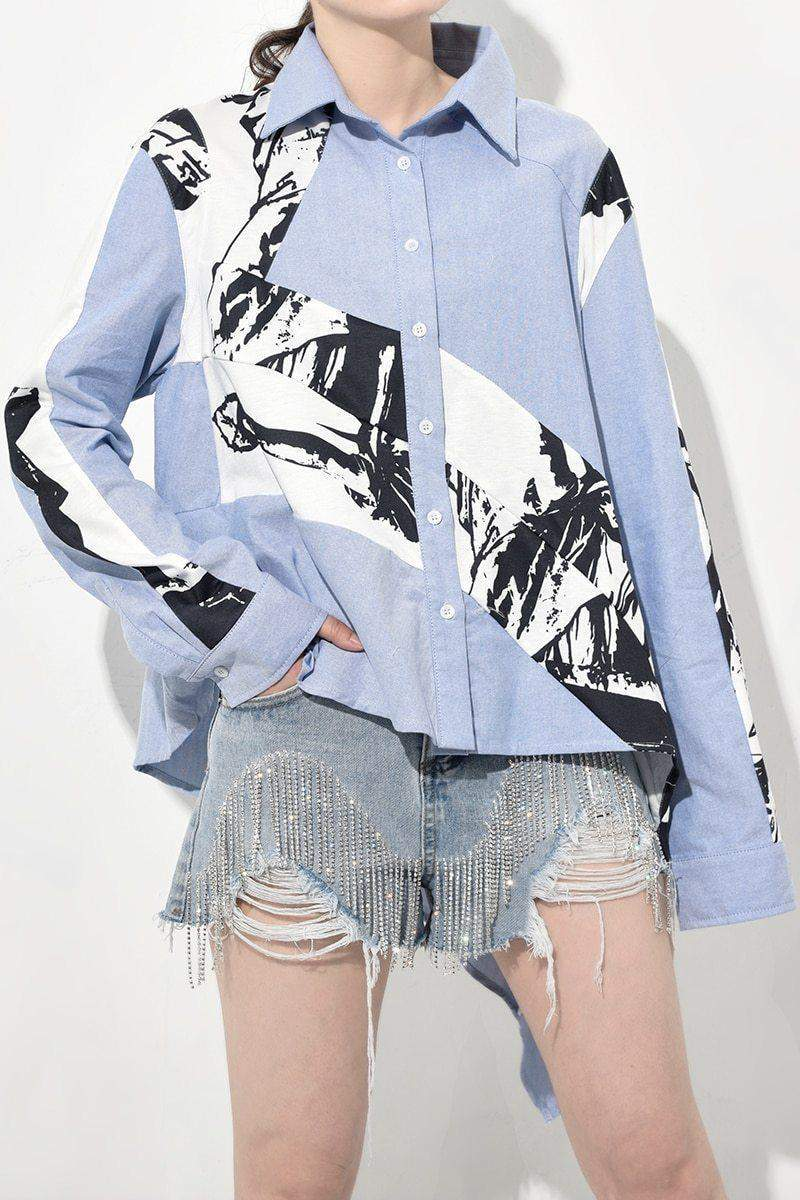 Long Sleeve Patten Printed Irregular Loose Big Size Shirt Women Blouse - missodd.com