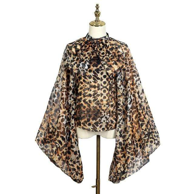sunscreen lantern sleeves bow collar loose leopard printed chiffon shirt female blouse - missodd.com