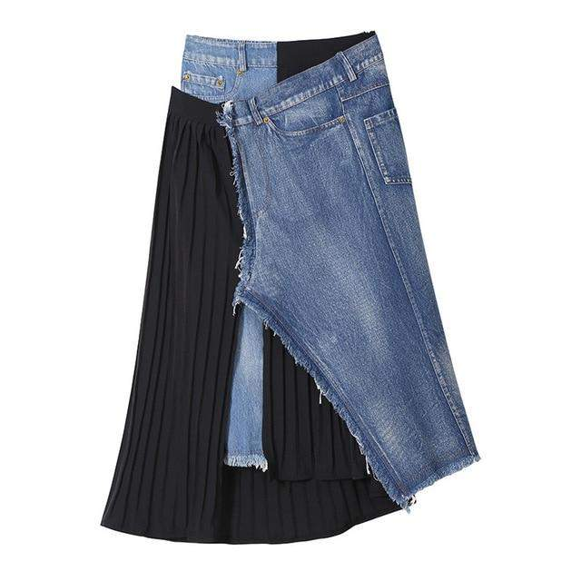 Denim Spliced Pleated Irregular High Waist Denim Half-body Skirt - missodd.com