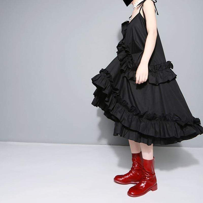 Irregular Multilayer Ruffles Solid Color Loose Fashion Sexy  Dress - missodd.com
