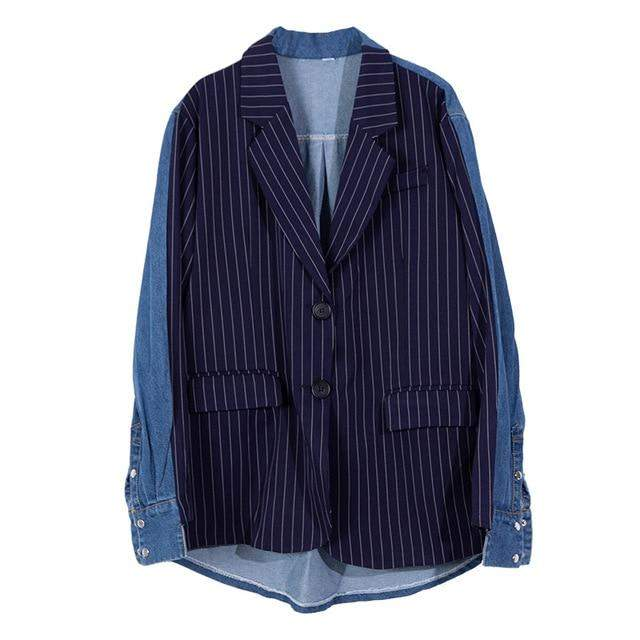 Patchwork Turn-down Collar Single Breasted Loose Coat - missodd.com