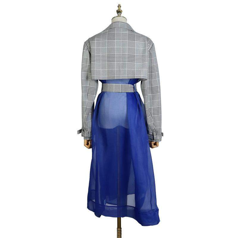 Long Sleeve Plaid Printed Hem Blue Mesh Split Joint Windbreaker Women Trench - missodd.com