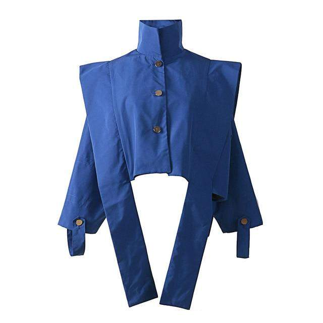 Long Sleeve Blue Three-dimensional Cut Loose Big Size Jacket Women Coat - missodd.com