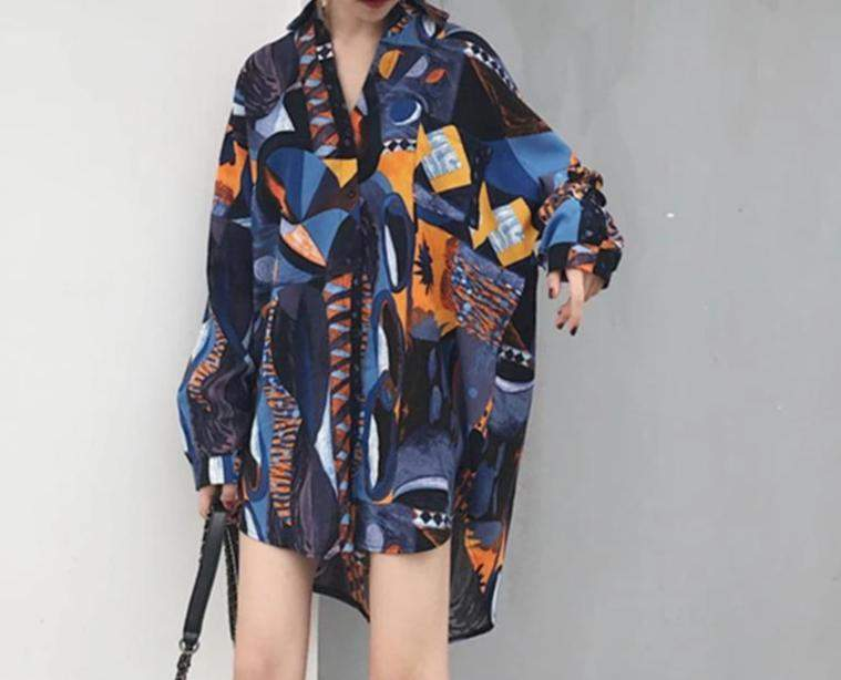 Turn Down Collar Loose Print Long Sleeve Printed Long Shirt - missodd.com