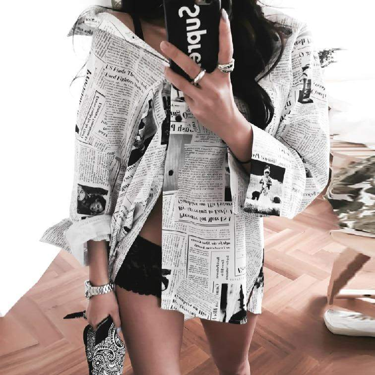 Long Sleeve Black White Letter Newspaper Print Loose Casual Shirt Women's Blouse - missodd.com